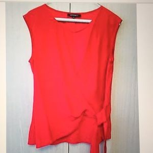 Lafayette 148 New York Silk Red Blouse,Size 6